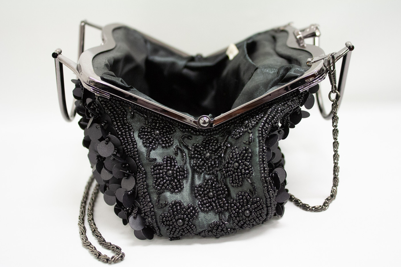 Black Sequin Clutch with Chain Strap