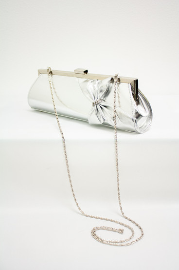Silver clutch with chain strap