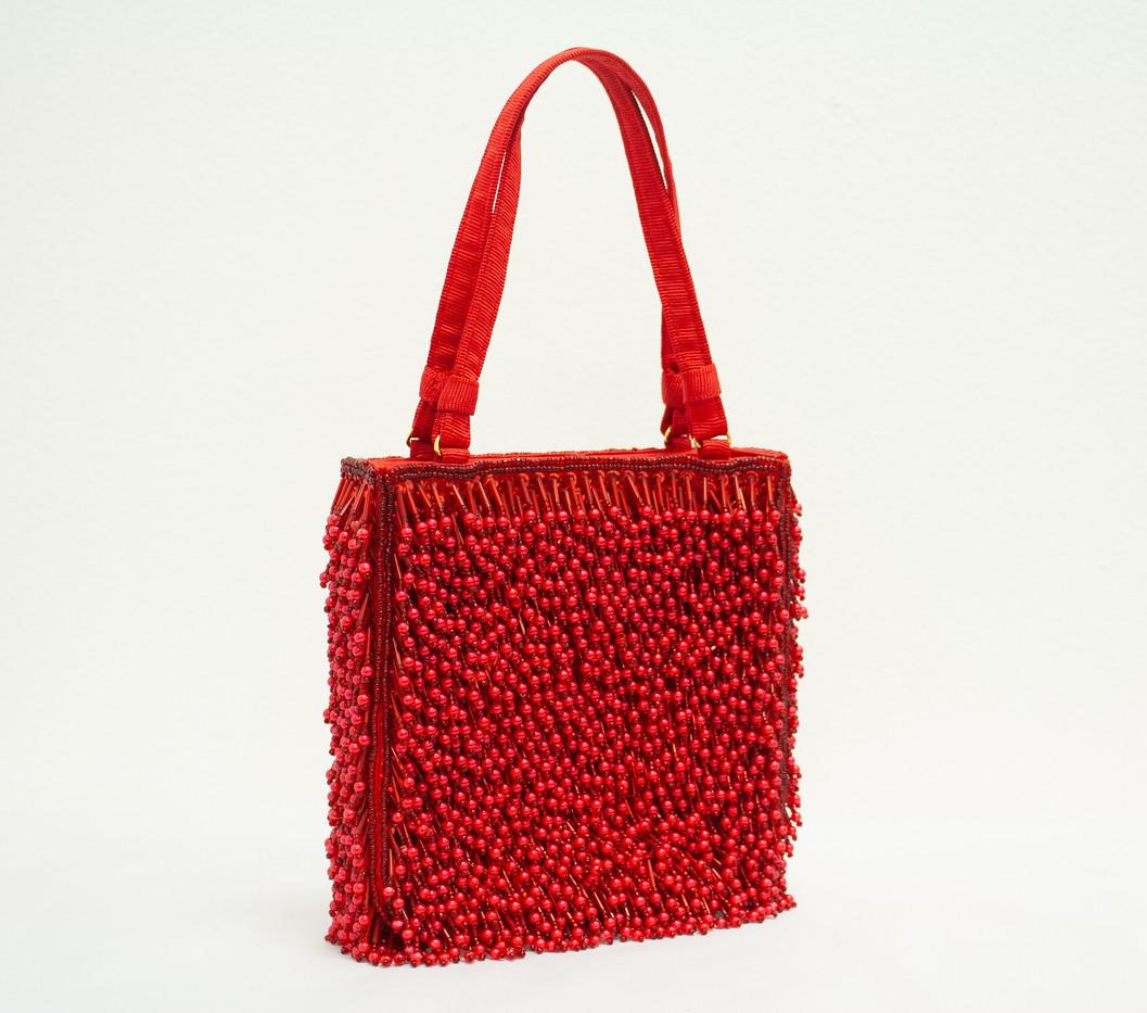 Red Beaded Handbag