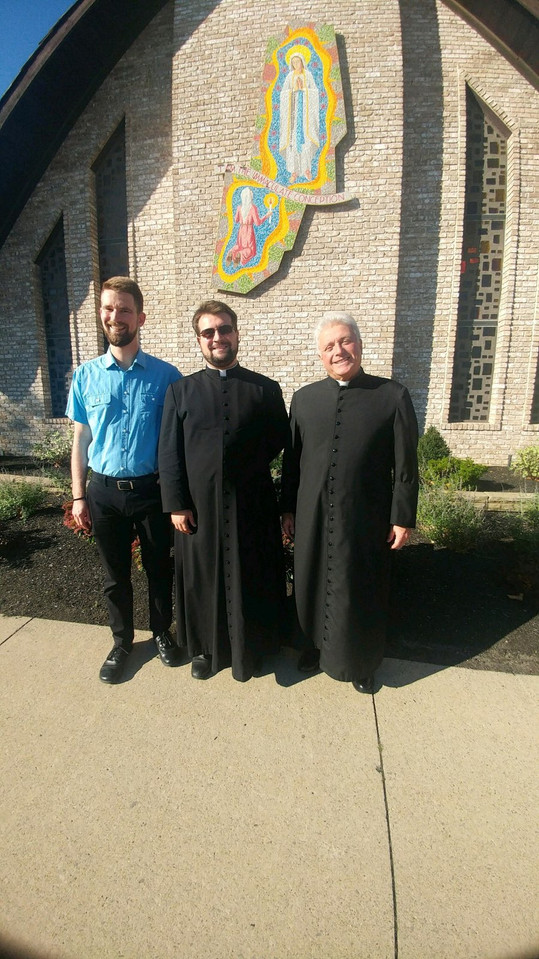 R to L Frs Racco & Fox, and Seminarian David following Advancement to 3rd Degree