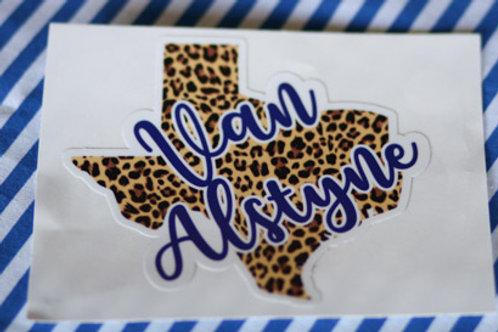 Van Alstyne with Leopard Print Texas Decal