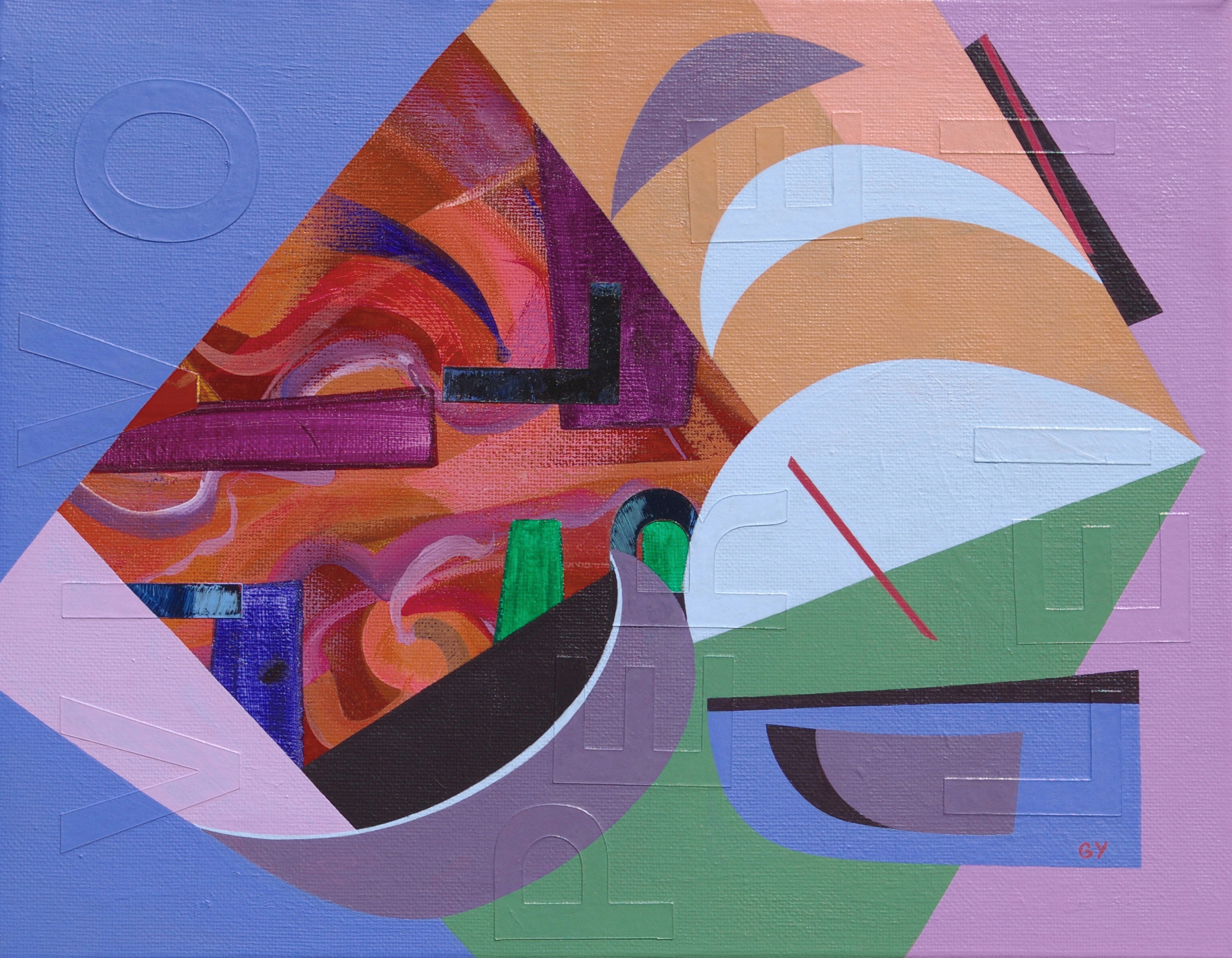 Composition with letters painting by Genia Yusim