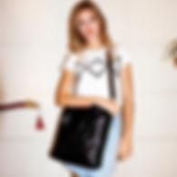 sac cabas tokyo noir effet croco marie m