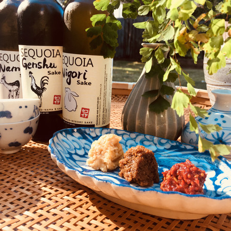 Miso sampler with local sake