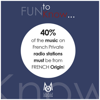 1-OMM-FUN to Know!-40% of the music on french private radio stations must be from French origin!