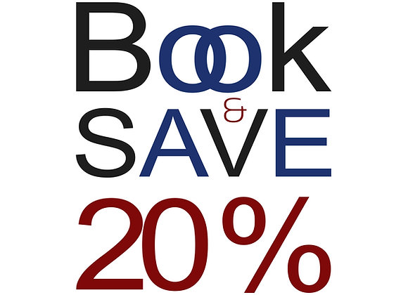 Book and SAVE 20%