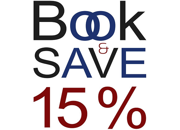 Book and SAVE 15%