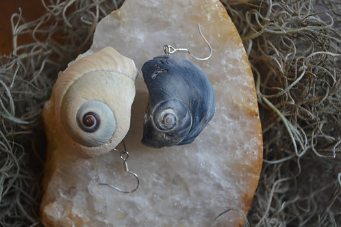 Yin/Yang Shell Earrings Sterling Silver hooks