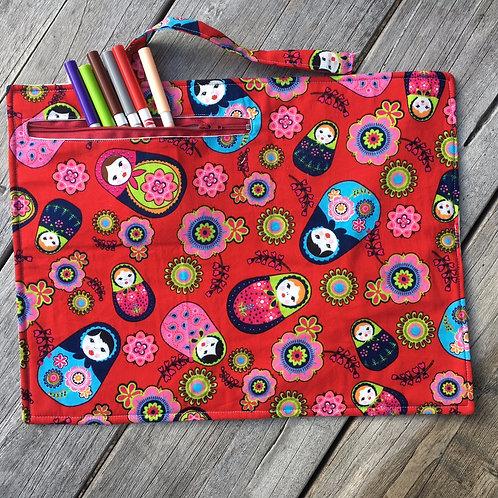 Matryoshka/Flowers Fabric Colouring Mat