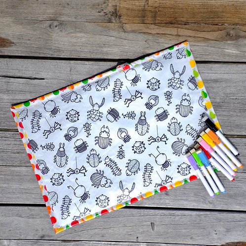 Bugs/Fruit Wipe Clean Fabric Colouring Placemat