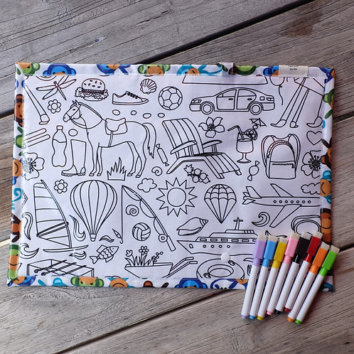 Everyday Items Wipe Clean Fabric Colouring Placemat