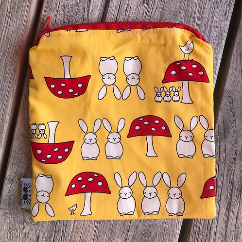Yellow Rabbits Zipper Snack Pouch