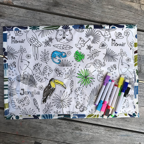 Jungle Animals Wipe Clean Fabric Colouring Placemat
