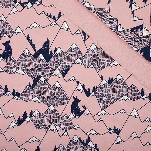 Fox Mountains Pink Raglan T-shirt