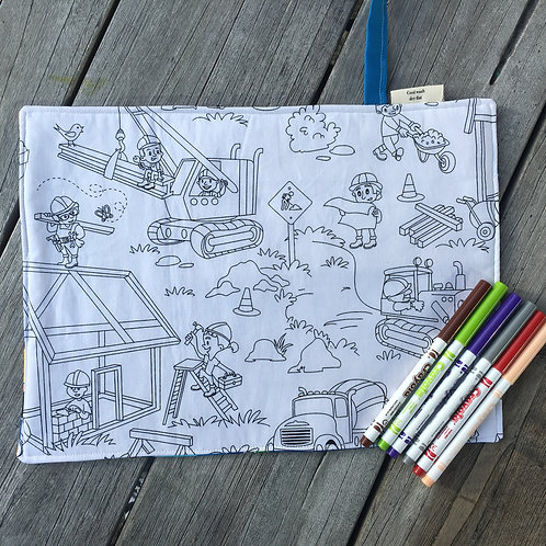 Construction Fun Fabric Colouring Mat