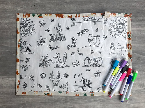 Forest/Foxes Wipe Clean Fabric Colouring Placemat