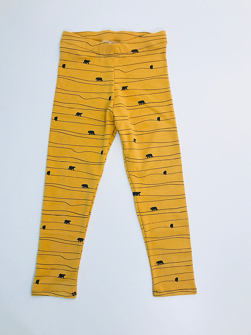 Organic Mustard Bear Leggings