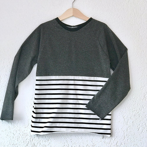 Block Stripes Grey/Monochrome Raglan T-shirt