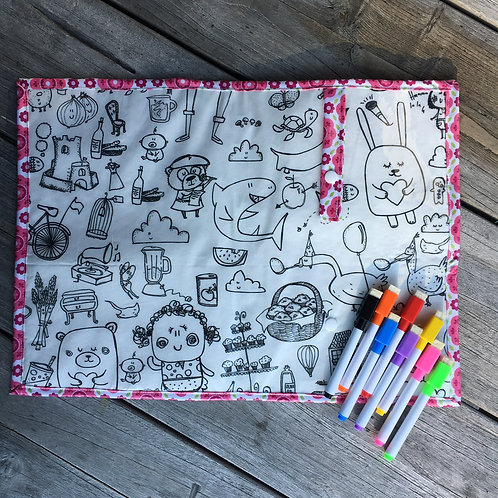 Flowers/Illustrations Wipe Clean Fabric Colouring Placemat
