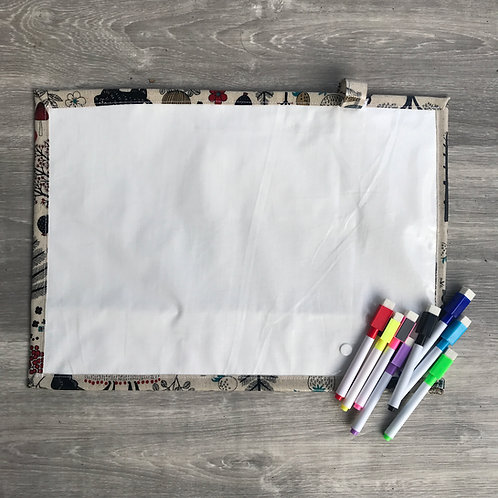 Forest/Free Drawing Wipe Clean Fabric Colouring Placemat