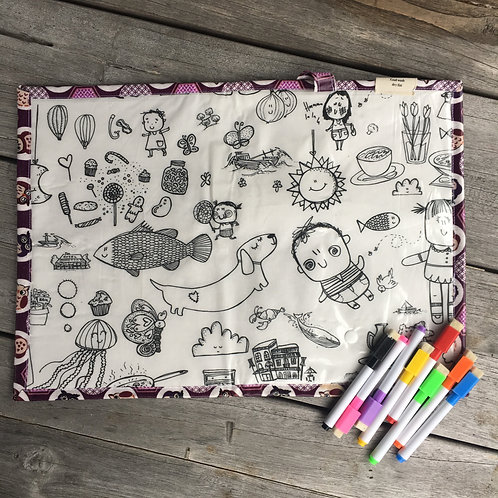 Purple Owls/Massive Colouring Wipe Clean Fabric Colouring Placemat