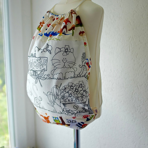 Ladybug Garden/Forest Colouring Drawstring Bag