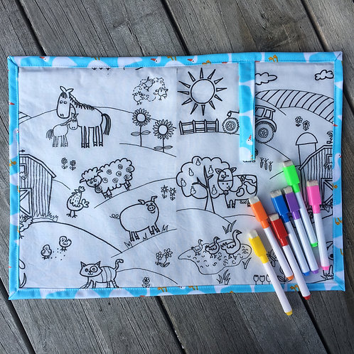 Fabric Wipe Clean Placemat - Farm/Frogs