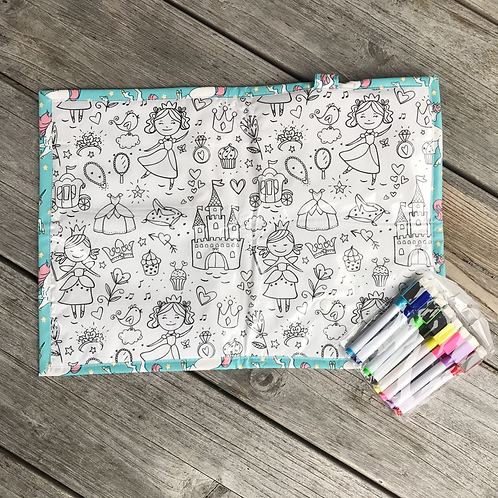 Unicorns/ Princess Wipe Clean Fabric Colouring Placemat