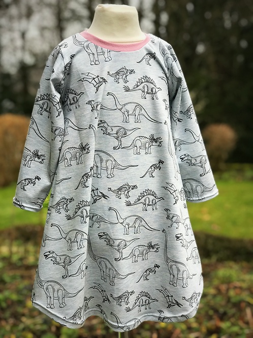 Organic Dino Dress - Light Blue
