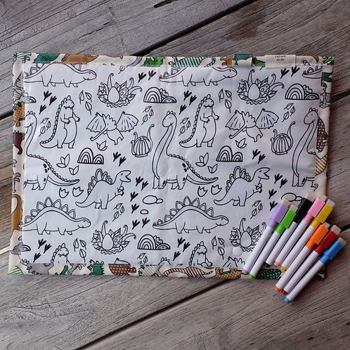 Green Dinos Wipe Clean Fabric Colouring Placemat