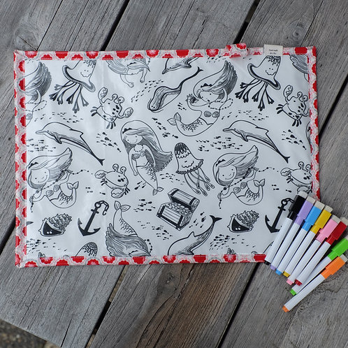 Mermaids/Flowers Wipe Clean Fabric Colouring Placemat
