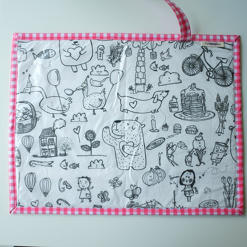 Fabric Wipe Clean Placemat - Illustrations/Gingham