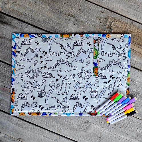 Monkeys/Dinos Wipe Clean Fabric Colouring Placemat