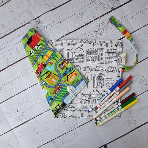Traffic Jam with Town Cars Colouring Mat
