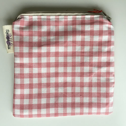 Pink Gingham Zipper Snack Pouch