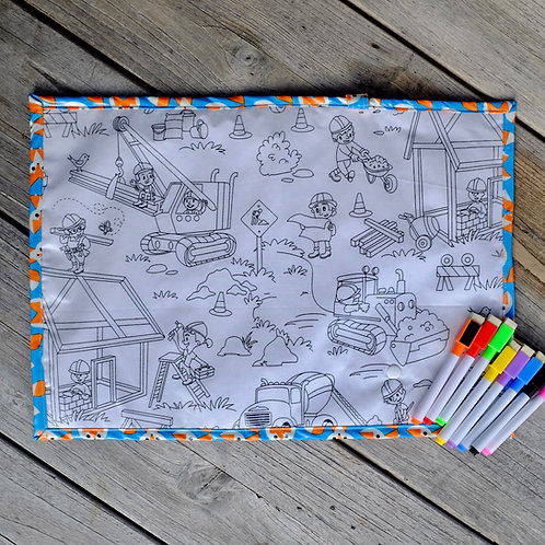 Fox/Construction Site Wipe Clean Fabric Colouring Placemat