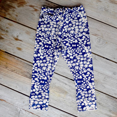 Organic Navy Daisy Leggings