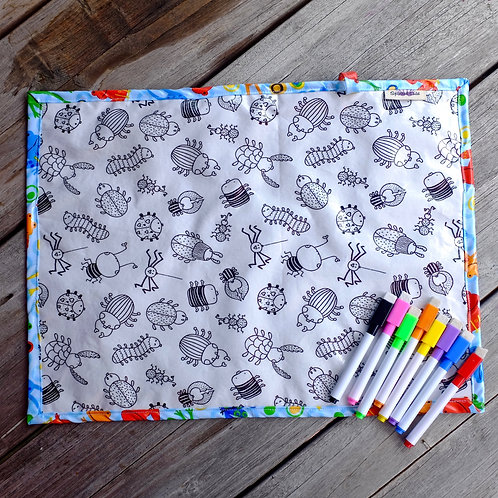 Fabric Wipe Clean Placemat - Bugs/Frogs