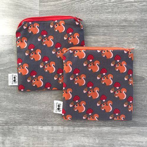 Grey Scandi Squirrel Snack Pouch