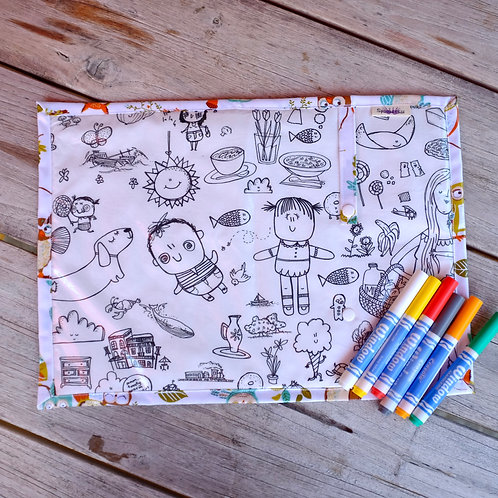 Fabric Wipe Clean Placemat - Illustrations/Owls