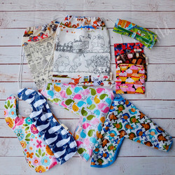 Bibs, Colouring Mats and Snack Pouches - REady for holiday