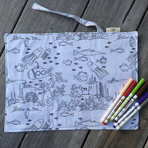 Boats/Whales/Underwater Fabric Colouring Mat