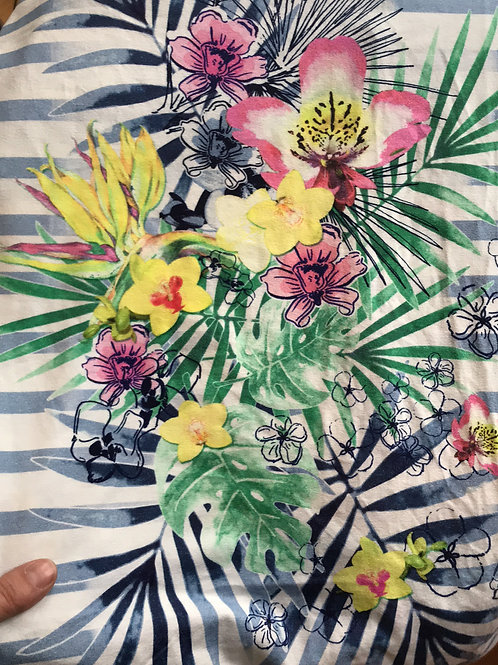 Tropical Flowers on Stripes Jersey