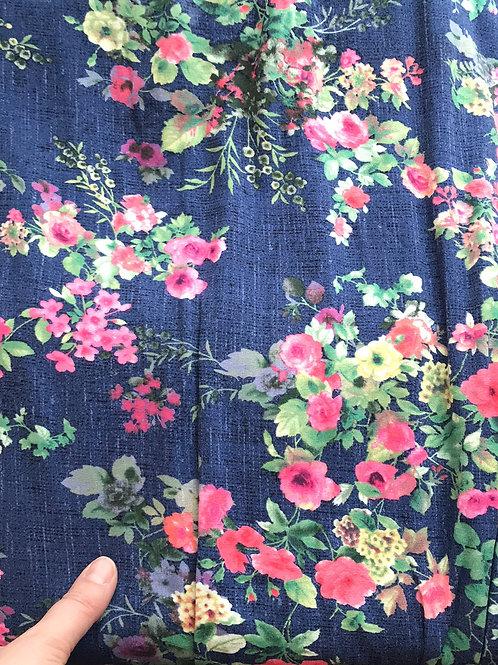 Flowers on Jeans effect Jersey
