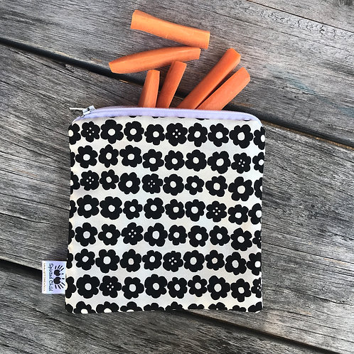 Monochrome Flowers Snack Pouch