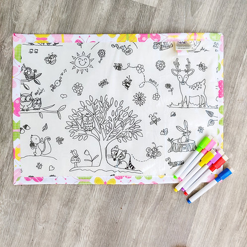 Forest/Butterflies Wipe Clean Fabric Colouring Placemat