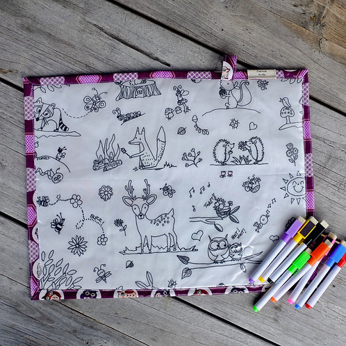 Purple Owls/Forest Wipe Clean Fabric Colouring Placemat