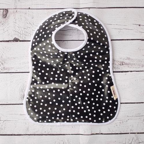 White dots on Black Waterproof Toddler Bib