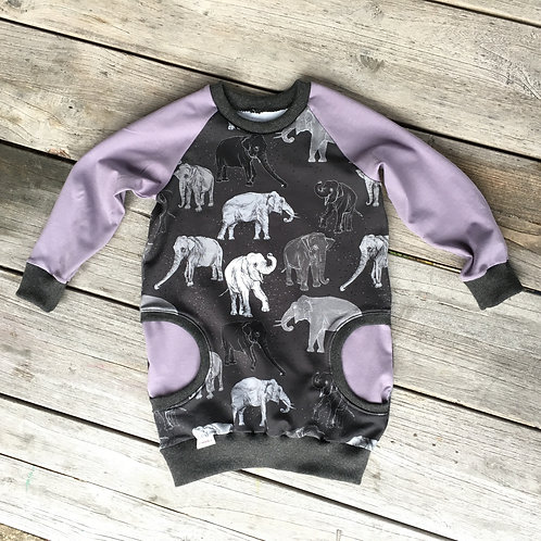 Elephant Purple Raglan Dress