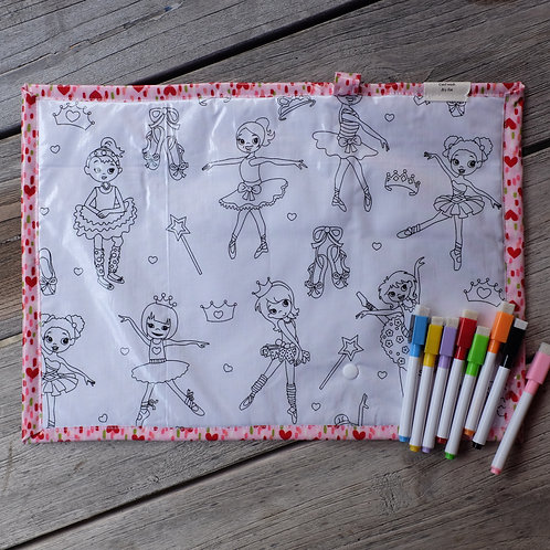 Ballerina/Hearts Wipe Clean Fabric Colouring Placemat